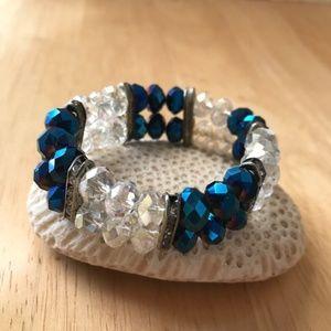Jewelry - Midnight Blue Beaded Stretch Bracelet Retro Trendy